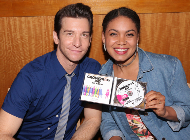 <p>Andy Karl and Barrett Doss show off the <em>Groundhog Day</em> cast album.</p><br />(© David Gordon)