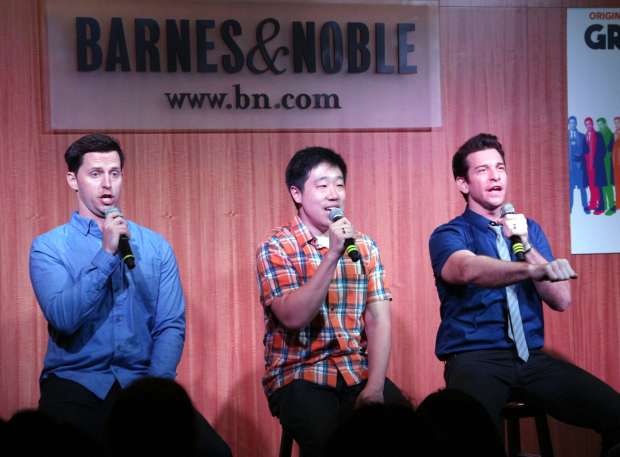 <p>Andrew Call, Raymond J. Lee, and Andy Karl sing &quot&#x3B;Nobody Cares.&quot&#x3B;</p><br />(© David Gordon)