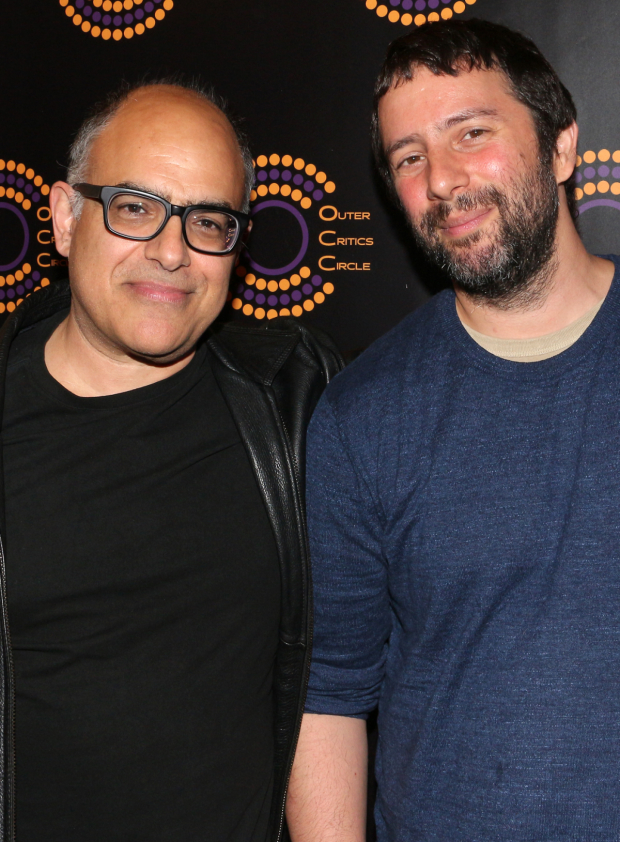 <p>David Yazbek and Itamar Moses, Outstanding New Off-Broadway Musical recipients for <em>The Band&#39&#x3B;s Visit</em>.</p><br />(© David Gordon)