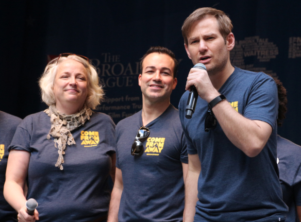 <p>Chad Kimball and the cast of &#39&#x3B;&#39&#x3B;Come From Away&quot&#x3B; sing &quot&#x3B;Welcome to the Rock.&quot&#x3B;</p><br />(© David Gordon)