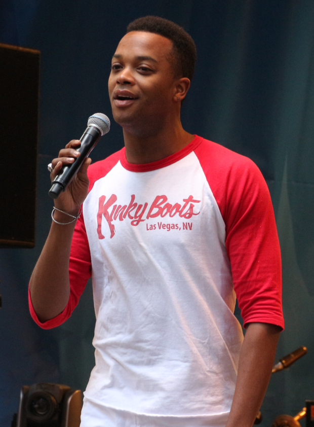 <p>J. Harrison Ghee presents a number from <em>Kinky Boots</em>.</p><br />(© David Gordon)