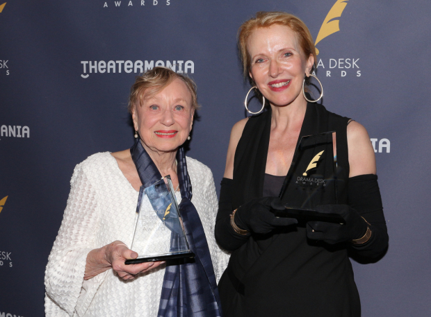 <p>Jane Greenwood and Catherine Zuber, Outstanding Costume Design recipients for <em>The Little Foxes</em>.</p><br />(© David Gordon)