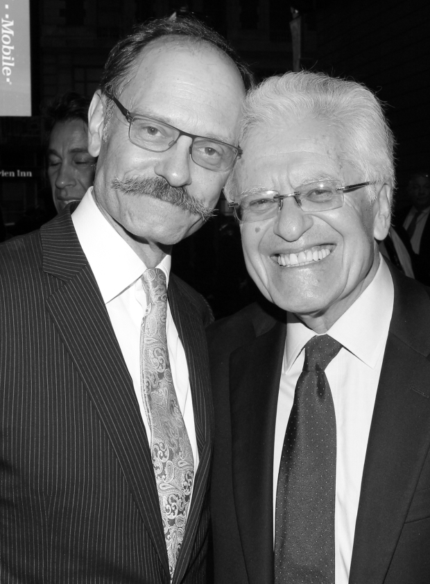 <p><em>Hello, Dolly!</em> leading man David Hyde Pierce catches up with his director, Jerry Zaks, before the Drama Desk Awards begins. Zaks is nominated for his work on <em>Dolly</em>, while Pierce received a nod for his performance in Adam Bock&#39&#x3B;s <em>A Life</em>.</p><br />(© David Gordon)