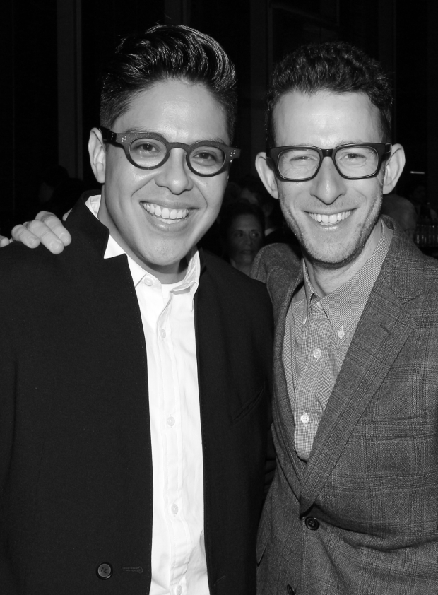 <p>George Salazar, a nominee for <em>The Lightning Thief</em>, and Nick Blaemire, nominated for <em>Tick, Tick... BOOM!</em> take a photo. They starred together in <em>Tick, Tick... BOOM!</em>, and also in <em>Godspell</em> on Broadway.</p><br />(© David Gordon)