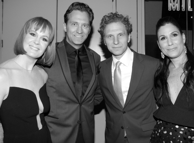 <p>The Drama Desk Awards are date night for nominees Kate Baldwin (<em>Hello, Dolly!</em>) and Stephanie J. Block (<em>Falsettos</em>), who pose before the show begins with their husbands, stage vets Graham Rowat and Sebastian Arcelus.</p><br />(© David Gordon)