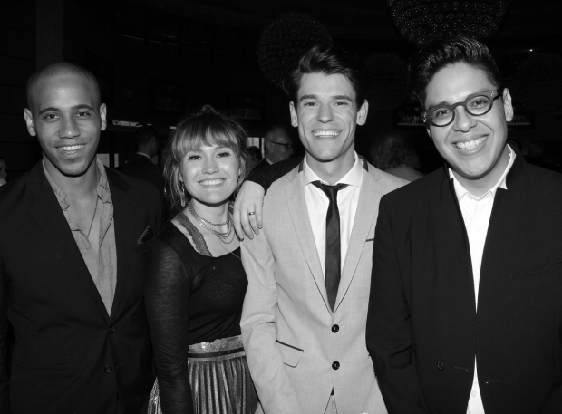 <p>After performing during the show, James Hayden Rodriguez, Kristin Stokes, Chris McCarrell, and George Salazar celebrate their work in off-Broadway&#39&#x3B;s <em>The Lightning Thief: The Percy Jackson Musical</em>.</p><br />(© David Gordon)