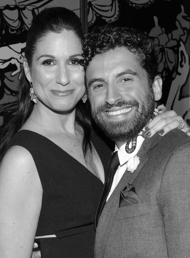 <p>Onstage <em>Falsettos</em> couple Stephanie J. Block and Brandon Uranowitz share a photo on the red carpet. Both were nominated for Drama Desk and Tony Awards for their performances as Trina and Mendel.</p><br />(© David Gordon)