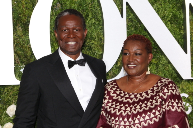 <p>John Douglas Thompson, Best Featured Actor in a Play nominee for <em>Jitney</em> and his lovely guest.</p><br />(© David Gordon)