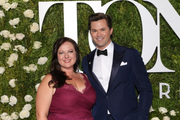 <p>Andrew Rannells, Best Featured Actor in a Musical nominee for <em>Falsettos</em>, with Zuzanna Szadkowski.</p><br />(© David Gordon)