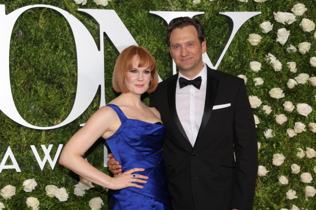 <p>Kate Baldwin, Best Featured Actress in a Musical nominee for <em>Hello, Dolly!</em>, with her husband, Graham Rowat.</p><br />(© David Gordon)