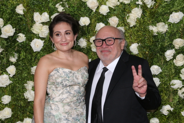 <p>Danny DeVito, Best Featured Actor in a Play nominee for <em>The Price</em>, with his daughter, Lucy.</p><br />(© David Gordon)