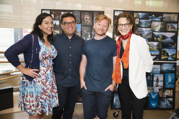 <p>Kristen Anderson-Lopez, Robert Lopez, Christopher Oram, and Natasha Katz on the first day of rehearsals for <em>Frozen</em>.</p><br />(© Jenny Anderson)