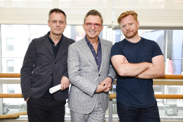 <p>Michael Grandage, Thomas Schumacher, and Christopher Oram stop for a photo.</p><br />(© Jenny Anderson)