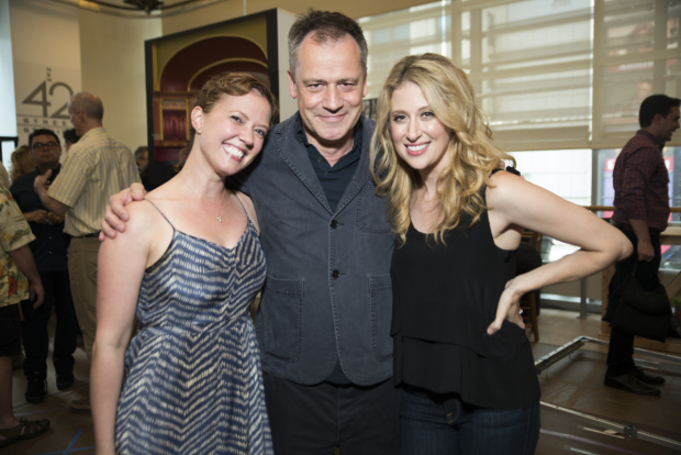 <p>Director Michael Grandage (center) poses for a photo with stars Patti Murin and Caissie Levy.</p><br />(© Jenny Anderson)