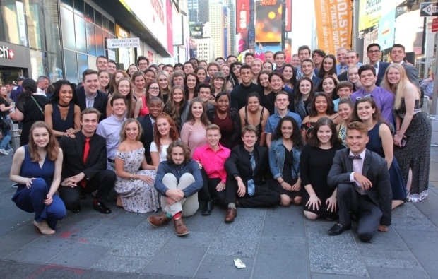 <p>This year&#39&#x3B;s National High School Musical Theatre Awards participants pose in Times Square.</p><br />(© Henry McGee)
