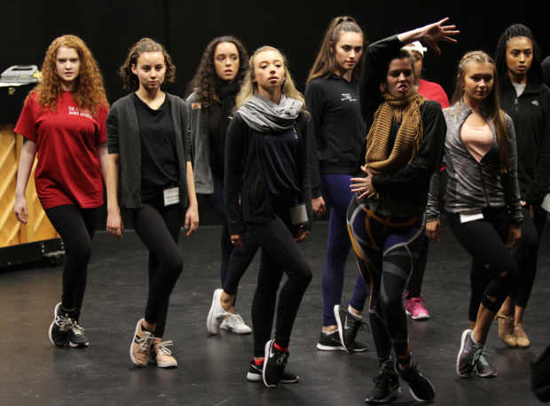 <p>Jimmy Awards participants prepare during dance call.</p><br />(© Henry McGee)