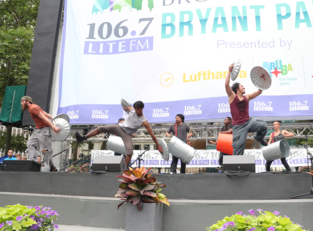 <p>A performance from <em>Stomp</em> at Bryant Park.</p><br />(© David Gordon)