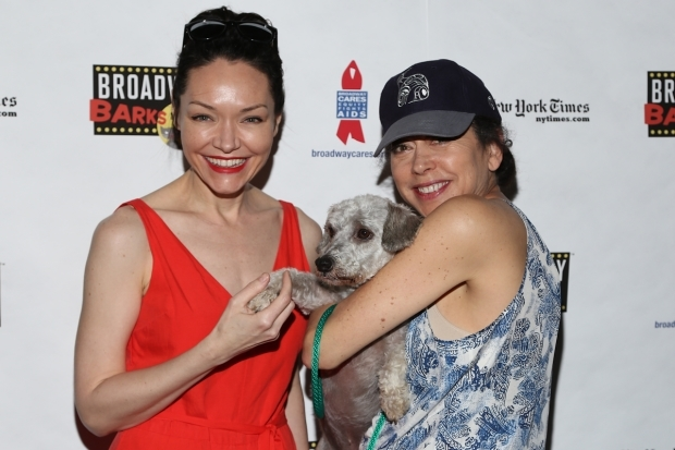 <p><em>Indecent&#39&#x3B;s</em> Katrina Lenk and Mimi Lieber play with a pup.</p><br />(© Tricia Baron)