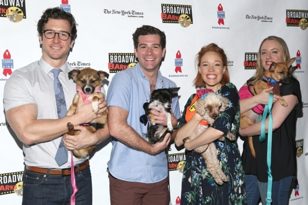 <p><em>Beautiful</em>&#39&#x3B;s Evan Todd, Ben Jacoby, Jessica Keenan Wynn, and Abby Mueller cuddle with canines.</p><br />(© Tricia Baron)