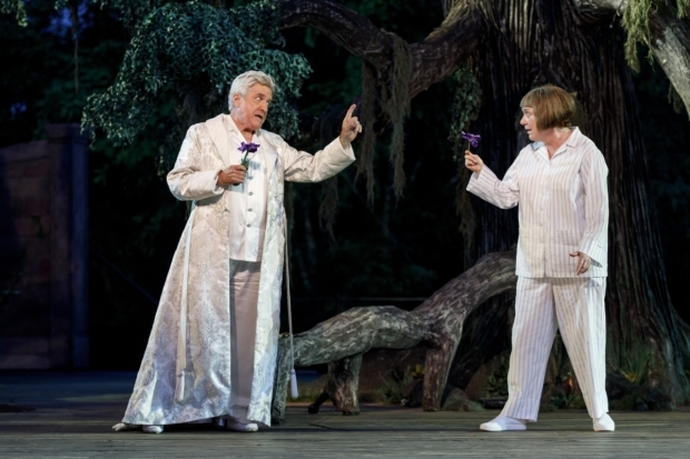 <p>Richard Poe and Kristine Nielsen play Oberon and Puck.</p><br />(© Joan Marcus)