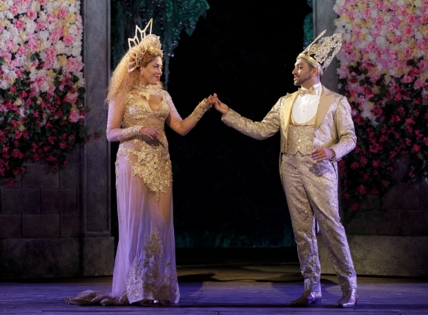 <p>De'Adre Aziza and Bhavesh Patel make a stately Hippolyta and Theseus.</p><br />(© Joan Marcus)