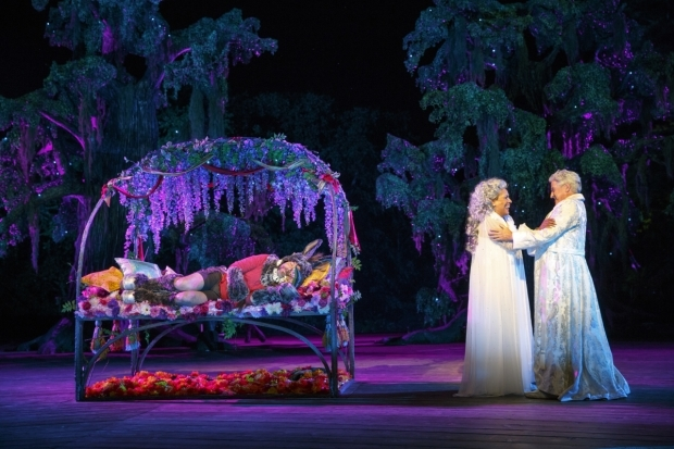 <p>Danny Burstein finds himself fast asleep as Phylicia Rashad and Richard Poe share the stage.</p><br />(© Joan Marcus)