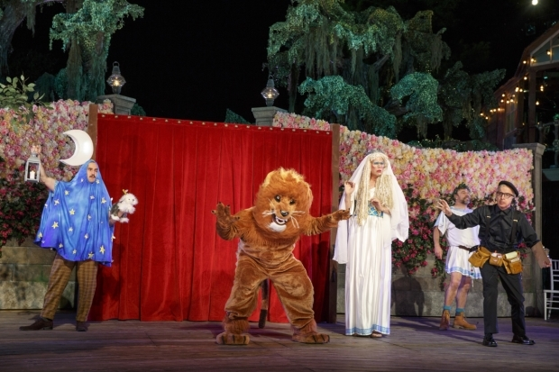<p>The Rude Mechanicals perform their play for the court.</p><br />(© Joan Marcus)