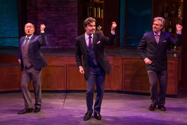 <p>Alan Muraoka (left), Christopher Shyer, and Ken Land take the stage in a dance number.</p><br />(© Matthew Murphy)