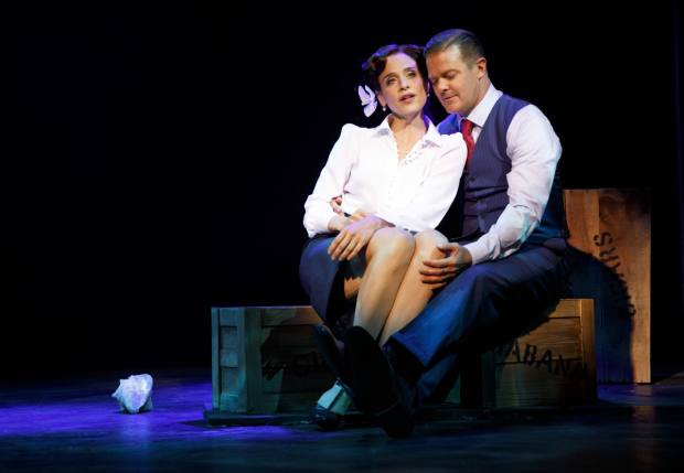 <p>Elena Shaddow and Clarke Thorell get close.</p><br />(© Joan Marcus)