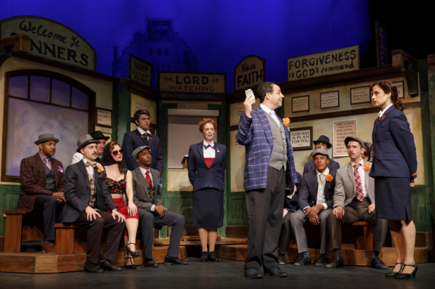<p>Steve Rosen handles a stern Elena Shaddow in a scene from <em>Guys and Dolls</em>.</p><br />(© Joan Marcus)