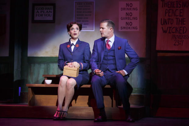<p>Elena Shaddow stars as Sarah Brown opposite Clarke Thorell as Sky Masterson.</p><br />(© Joan Marcus)