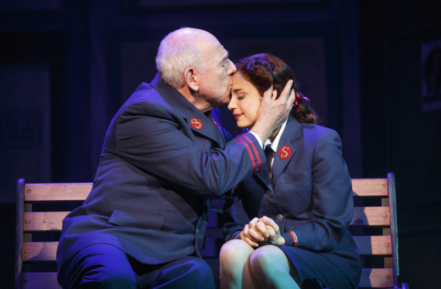 <p>Lenny Wolpe and Elena Shaddow share a sweet moment in <em>Guys and Dolls</em>.</p><br />(© Joan Marcus)