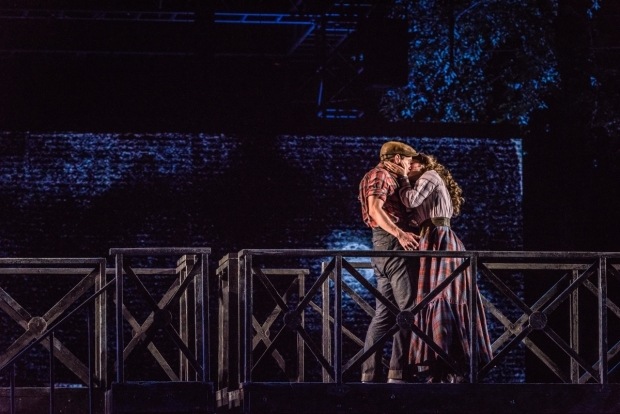 <p>A kiss between Jay Armstrong Johnson and Tessa Grady.</p><br />(photo provided by the production)