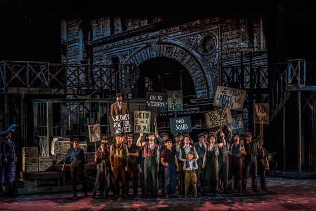 <p>The newsies on strike.</p><br />(photo provided by the production)