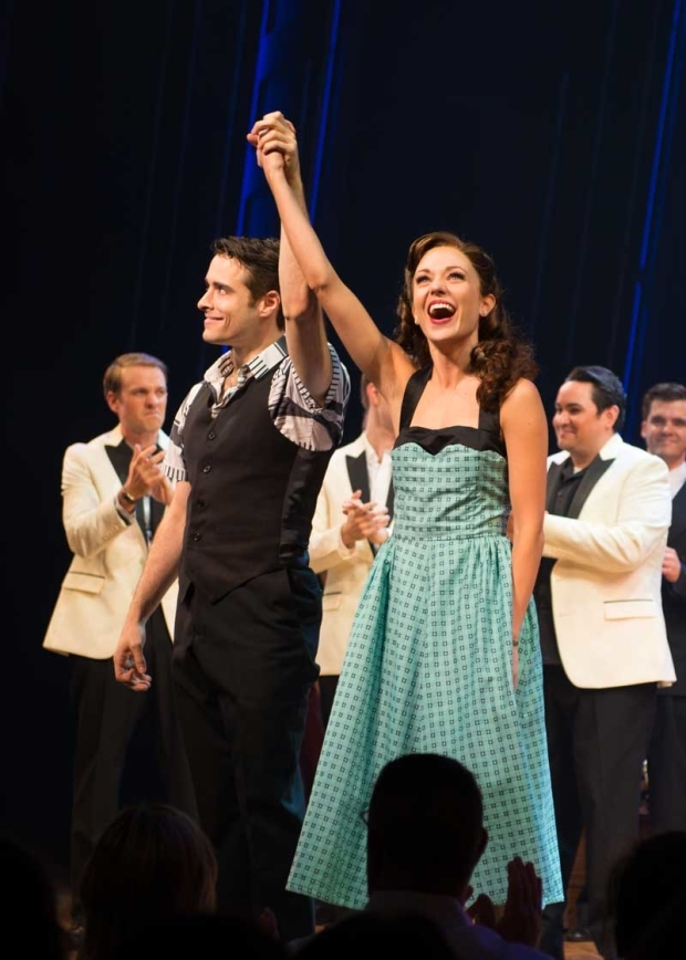 <p>Stars Corey Cott and Laura Osnes take a bow at curtain call.</p><br />(© Allison Stock)