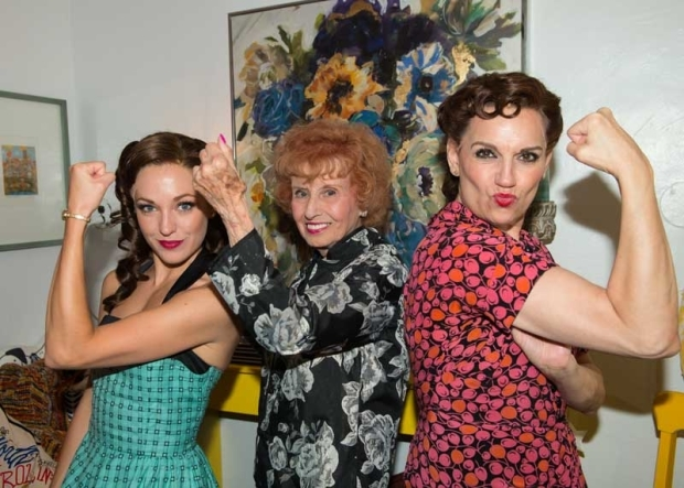 <p>Laura Osnes, Elinor Otto, and Beth Leavel strike the classic &quot&#x3B;Rosie the Riveter&quot&#x3B; pose.</p><br />(© Allison Stock)
