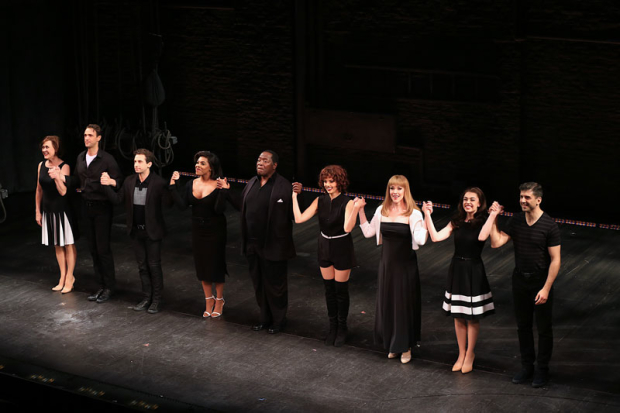 <p>The cast of <em>Prince of Broadway</em> takes a bow.</p><br />(© Tricia Baron)