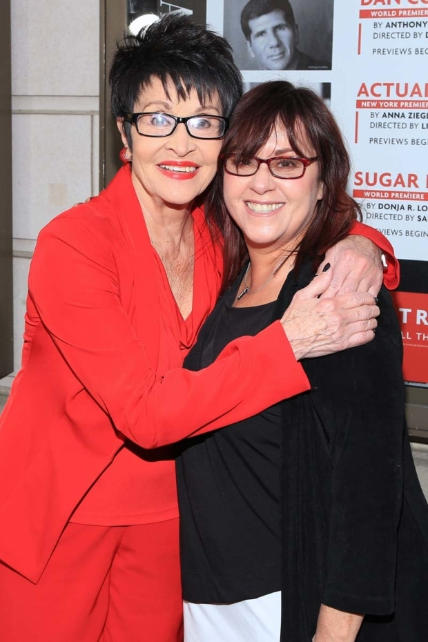 <p>Chita Rivera grabs a quick hug from Lisa Mordente.</p><br />(© Tricia Baron)