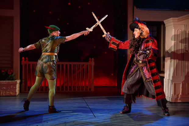<p>Kathleen Chalfant&#39&#x3B;s Peter Pan duels David Chandler as Captain Hook.</p><br />(© Joan Marcus)