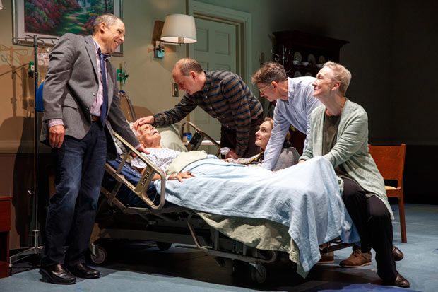 <p>David Chandler, Daniel Jenkins, Lisa Emery, Keith Reddin, and Kathleen Chalfant keep vigil at Ron Crawford&#39&#x3B;s bedside.</p><br />(© Joan Marcus)
