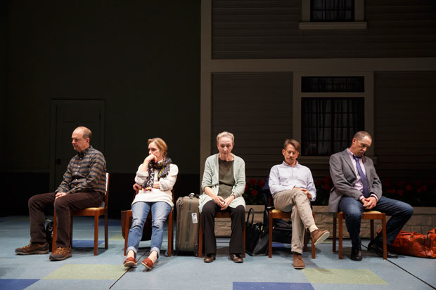 <p>Daniel Jenkins, Lisa Emery, Kathleen Chalfant, Keith Reddin, and David Chandler sit in silence.</p><br />(© Joan Marcus)