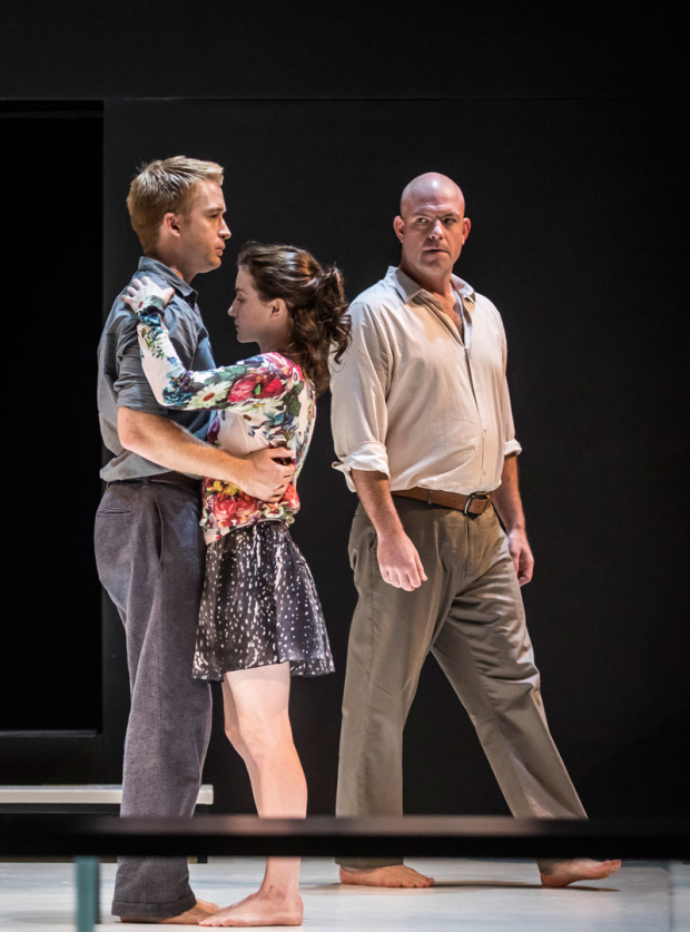 <p>Daniel Abeles and Catherine Combs dance together under the watchful eye of Ian Bedford.</p><br />(photo provided by the production)