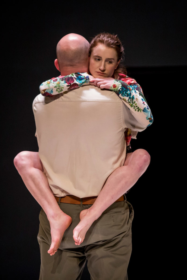 <p>Catherine Combs clings to Ian Bedford.</p><br />(photo provided by the production)