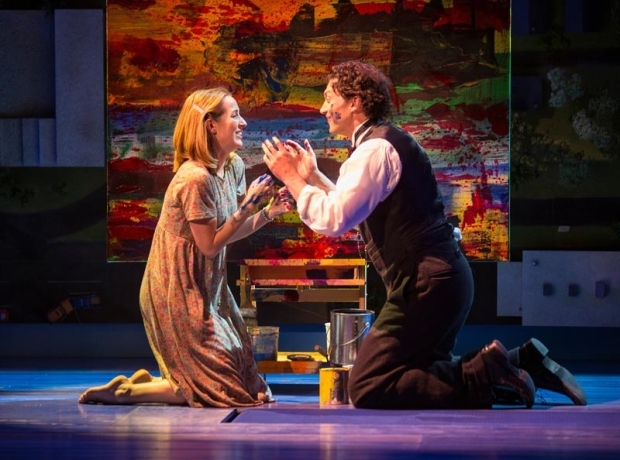 <p>Hannah Elless and Bryce Pinkham get messy in the paint.</p><br />(© Jim Crox)