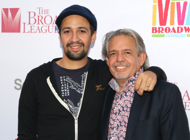 <p>Lin-Manuel Miranda poses with his dad, Luis Miranda.</p><br />(© David Gordon)