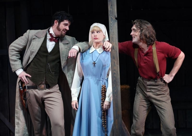 <p>Emma Degerstedt is caught between Peter Saide and Conor Ryan.</p><br />(© Carol Rosegg)