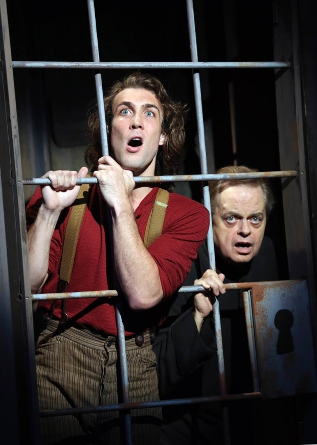 <p>Conor Ryan and Gary Marachek find themselves locked up.</p><br />(© Carol Rosegg)