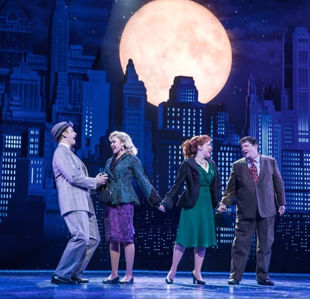 <p>Michael Mastro, Laura Bell Bundy, Leslie Kritzer, and Michael McGrath sing a song under the moon.</p><br />(© Evan Zimmerman)