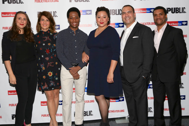 <p>The cast of <em>Tiny Beautiful Things</em>: Ceci Fernandez, Nia Vardalos, Hubert Point-Du Jour, Natalie Woolams-Torres, Teddy Cañez, and DeLance Minefee.</p><br />(© Tricia Baron)