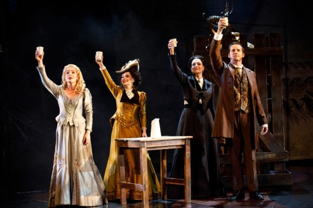 <p>Mary Michael Patterson, Meghan Picerno, Karen Mason, and Sean Thompson raise a glass.</p><br />(© Joan Marcus)